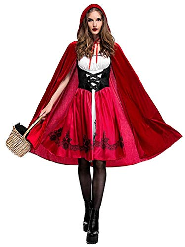 Women Little Red Riding Hood Costume Christmas Halloween Party Dress with Cape Small