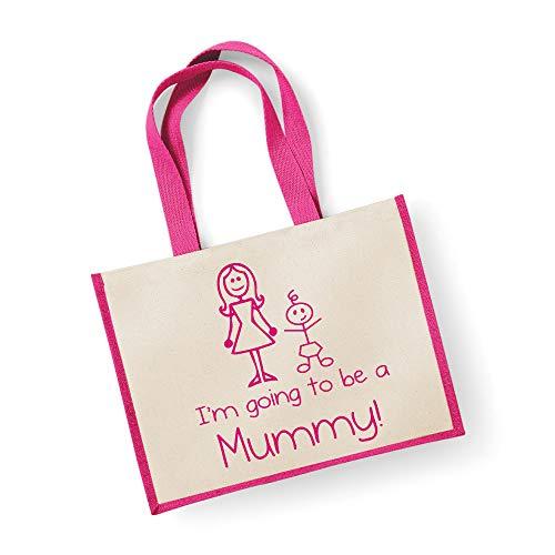 Grand sac de jute I'm Going To Be A Maman Rose Bag fête des mères Nouvelle Maman anniversaire Cadeau de Noël