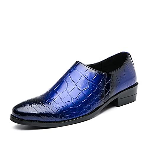 WUQIN Zapatos de Cuero con Estilo Vestido de Hombre Boda Fiesta de Noche Mocasines Cuero Suave Suela de Goma Zapatos de Negocios Zapatos de conducción Casuales,Blue-41EU