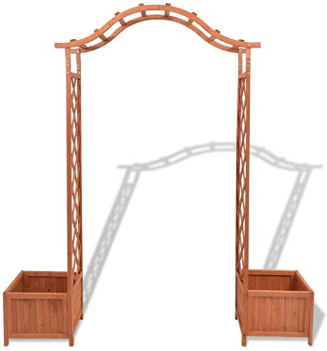 Luangfim Garden Arch, 2-in-1 Trellis Rose Arch with 2 Planters for Patio Backyard Wedding Garden Arch Bridal Party Decoration Wide Arbor, 70.9'x15.7'x 80.7'