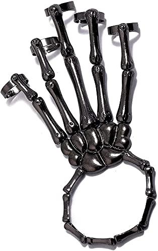 MRLZLT Brazalete Esqueleto Punk con Hueso de Mano, Brazalete exoesqueleto Deathbringer, Accesorios de Halloween de Miedo para Disfraz de Cosplay. (1pc Negro)