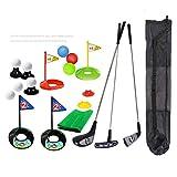 SOWOFA Golf Adecuado para niños de 3 a 6 años 3 Palos de Golf y 8 Bolas de Colores de práctica, 4 Hoyos de Golf Bolsa de Almacenamiento de Golf Gratis Configure una Alfombra de Hierba Verde simulada