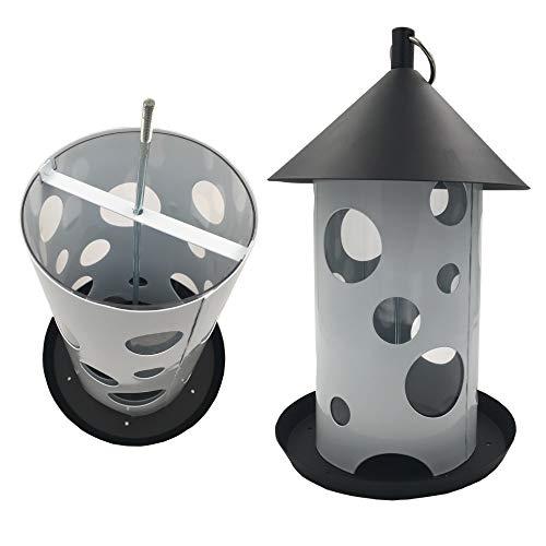 Mangeoire à oiseaux sauvages 30 cm en métal jusqu'à 2 kg de nourriture avec 3 ouvertures d'alimentation - Distributeur parfait pour tous les types de graine ou fruits secs