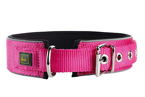 HUNTER NEOPREN REFLECT Hundehalsband, Nylon, Neopren gepolstert, reflektierend, 55 (M-L), himbeer/schwarz