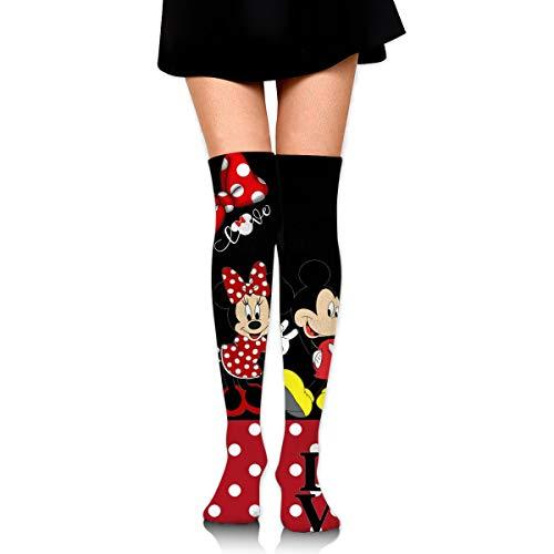 JINUNNU Damen Oberschenkelhohe Kompressionsstrümpfe Beinstulpen Micky Maus Stiefel Strümpfe extra lang Sport Tube Socken