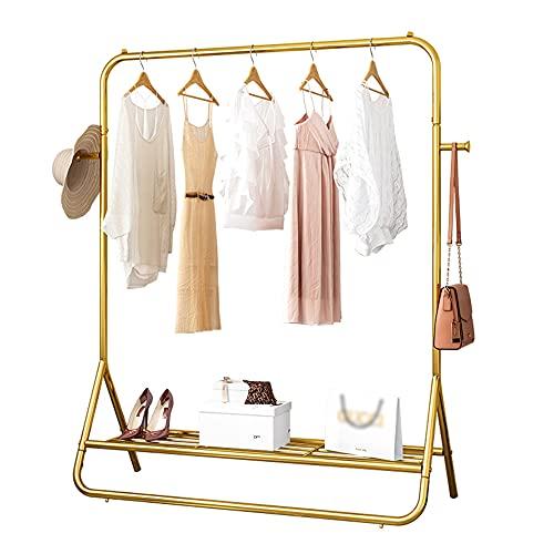 Barra de ropa de metal pesado, tendedero de secado de tubería industrial minimalista moderno, independiente/que ahorra espacio, estante de exhibición minorista de tienda de ropa tres en uno /