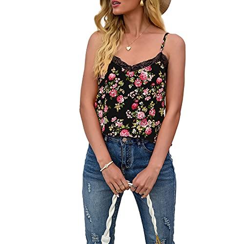 XYJD Lente en zomer dames casual mode V-hals bloemenprint losse mouwloos hemdje T-shirt top dames, Zwart, M