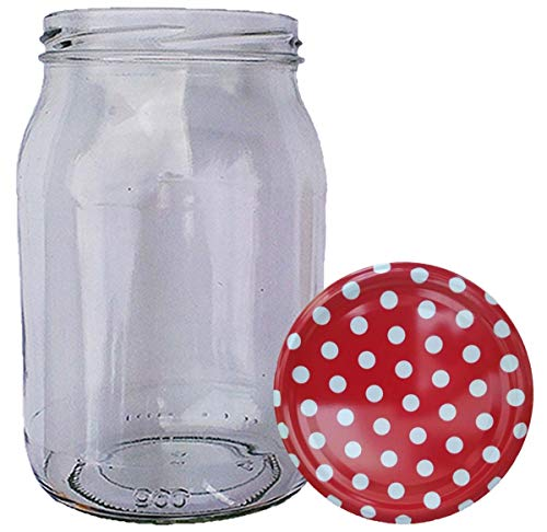 HAUSWIRT 16 Stück X 900ml Einmachgläser • Einkochgläser mit Schraubdeckel to 82 mm Rot-Weiß Gepunktet • 8, 16, 32 Stück • Große Auswahl Verschiedene Größen und Farben