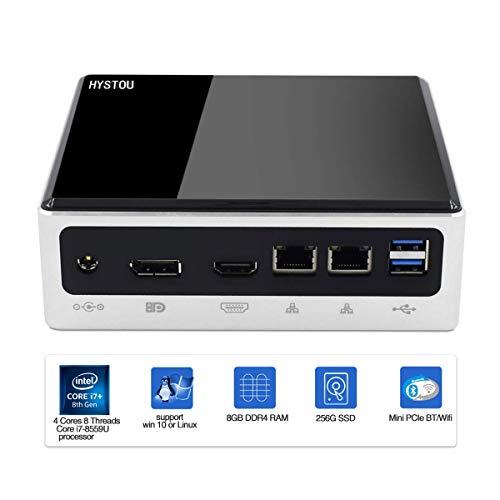 HYSTOU Mini PC,Industrie PC Intel Core i7-8559U(2.7GHz),8GB DDR4+256GB SSD,HDMI DP Dual USB*8 Typ C*1 Aluminiumgehäuse 4K-Display,WiFi Bluetooth Windows 10 Pro(64 Bit),3 Jahre Garantie