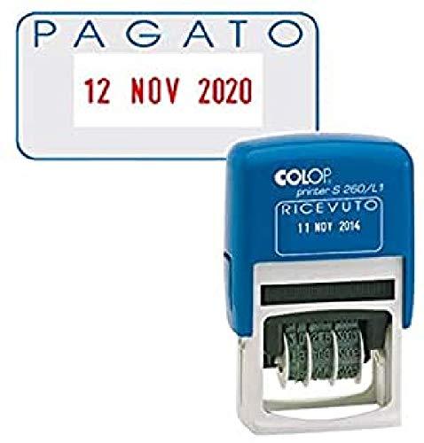 COLOP timbro datario + pagato s260 / l2 autoinchiostrante colop