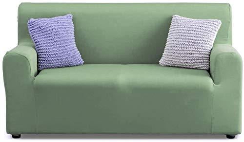 APLUS1 Funda para sofá antimanchas y antideslizante elástica de color liso de tela (97% poliéster y 3% elastano), color verde, para sofá de 2 plazas de 130 a 180 cm – profundidad de hasta 70 cm)