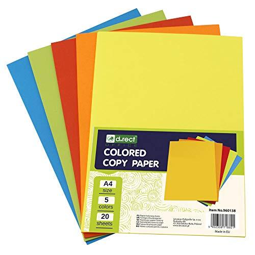 D.RECT Kopierpapier bunt A4 Mix von 5 Farben mit jeweils 20 Blatt