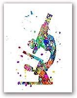 現代水彩顕微鏡アートキャンバスプリント絵画科学者ギフト微生物学顕微鏡ファッションポスターオフィス壁アート装飾40x60cmフレームなし