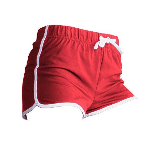 Skinni Fit Damen Sport-Shorts / Retro-Shorts (Small) (Rot/Weiß)
