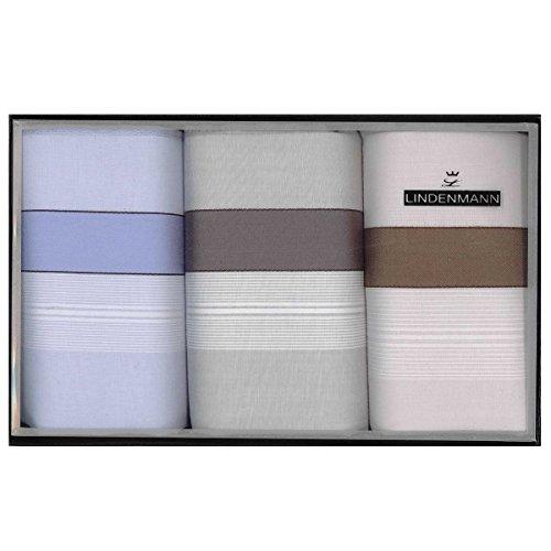 Lindenmann Handkerchiefs for men, 3-pack, blue-grey-white, 50026-001