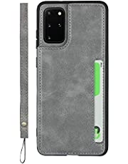 Hand Strap Case for Samsung Galaxy S20 Plus, Sailor Tech Premium Leather Simple Durable Phone Cases Back Cover with 3 Card Slots Wrist Strap Stand Gray