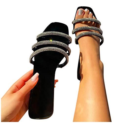 koperras Damen Sandalen Slippers Stretch Slide Beach Slip On Flache Schuhe Hausschuhe Strandsandalen für Frauen Lässige Sommerschuhe Anti-Rutsch-Sandalen Schwarz