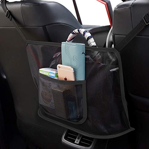 Car Net Pocket Handbag Holder,for Handbag Bag Documents Phone Valuable Items Large Capacity,Barrier of Backseat Pet Kids (Not Included Handbag) Black Upgrade