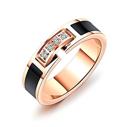 Anazoz Anillo de compromiso de acero inoxidable chapado en oro rosa con circonita cúbica de 5 mm para mujer