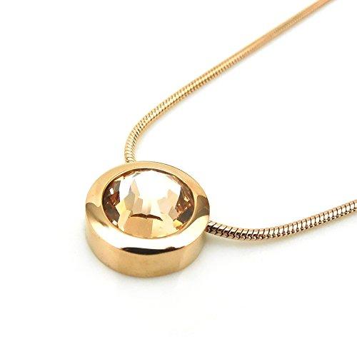 Dragon Eye roségoud met ketting hoogwaardig geslepen Swarovski Solitaire Crystal barnsteen Miore Energetix 4you 459 magnetische sieraden set 1788