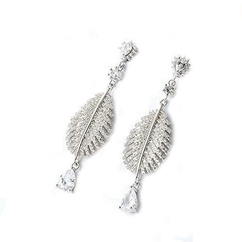 Pendientes para niñas con forma de pluma grande de plata de ley 925, pendientes de aro de plata para mujer, regalo de cumpleaños para mujeres, decoraciones de Navidad, pendientes con bisagras.