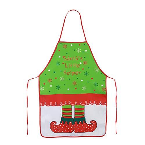 KAKOO Lustig Kochen Schürze im Weihnachten Elfen Motiv Küchenschürz Grillschürze Kochschürze Frauen Männer (grün Elf Schürze)