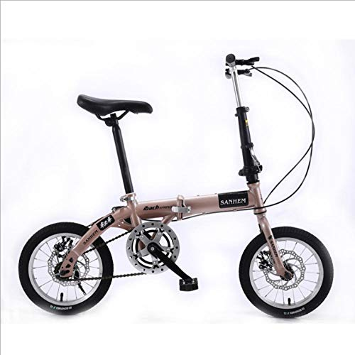 DGAGD 14 inch Lightweight Folding Bicycle Single Speed disc Brake Bicycle Champagne Gold