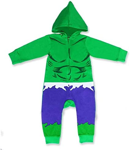 Marvel Boy s The Incredible Hulk Zip Up Hooded Coverall 100 Cotton Green Size 5T product image