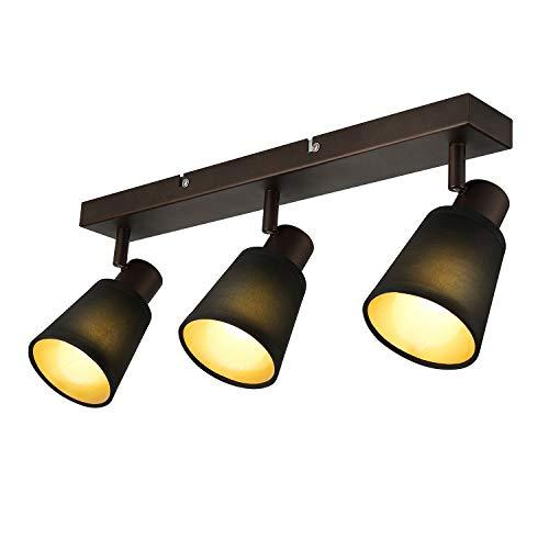 IMPTS Lámpara LED de techo de 3 focos, pantalla de tela, lámpara de techo, lámpara de pared, lámpara de comedor, vintage, negra, incluye bombilla E14 LED, 280 lm, 230 V, IP20, blanco cálido