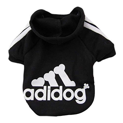 Ropa de Perros Pequeños Abrigo Suéter de Caliente del Perrito del Algodón Adidog Ropa del Perrito con Capucha Ropa para Mascotas Perros Gatos (Negro, L)