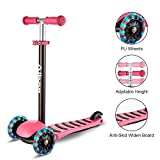 Albott 3 Wheels Kick Scooter for Kids Toddlers Scooter with PU LED Flashing Wheels, Lean to Steer, Adjustable Height for Children Boys & Girls from 3 to 10 Year Old (Pink)