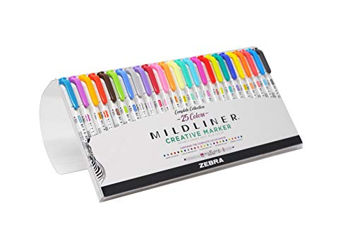Zebra Pen Mildliner Double Ended Highlighter Set, Broad and Fine Point Tips, Assorted Ink Colors, 25-Pack (78525)
