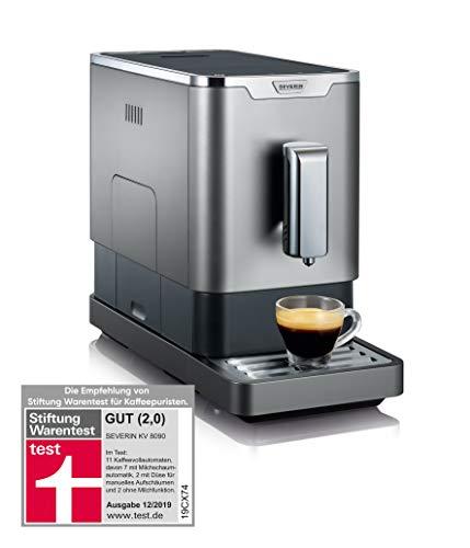 Severin Volautomaat met maalwerk, voor koffiebonen, ultracompact slank design, eco-modus, KV 8090, grijs/zwart