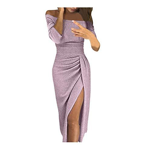 Tosonse Vestidos Ajustados con Hombros Descubiertos para Mujer Fiesta Noche Vestido Largo Sexy con Abertura Alta