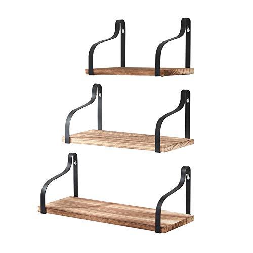 HOMBYS Floating Shelves Wall Mounted Set of 3 Hanging Wood Shelves for Bedroom Bathroom or Kitchen