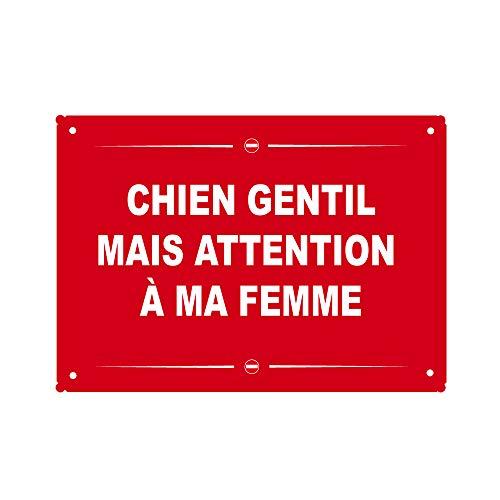 Stylx Design Plaque métal Humoristique Chien Gentil mais Attention à ma Femme Plaque Cadeau Humour Fête des pères, fête des mères