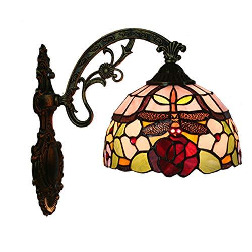 MTTK Vintage Style Tiffany Mur Lampe Libellule Fleur conçu Verre Mur lumière intérieur éclairage 20 * 36CM