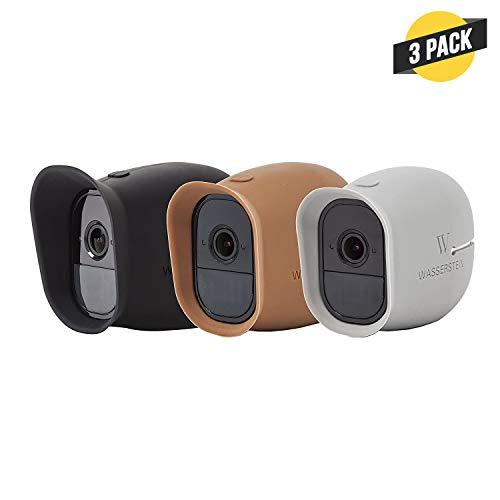 Silikon Skins mit Sonnendach für Smart Home Security Arlo Pro & Arlo Pro 100% WiFi Kameras - von Wasserstein (schwarz/braun/grau)