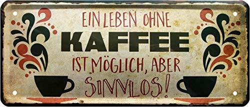 Plaque en tôle décorative décorative sans café 28 x 12 cm