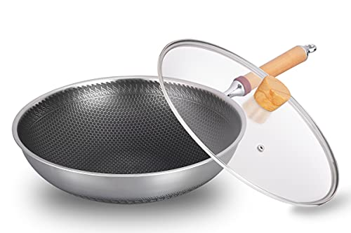Stainless Steel 13 inch Nonstick Wok With Detachable Wooden Handle , Frying Pan with lid , Saute Cooking pan, Nonstick Scratch-Resistant Cookware, Pots and Pans For Dishwashernstick wok pan…