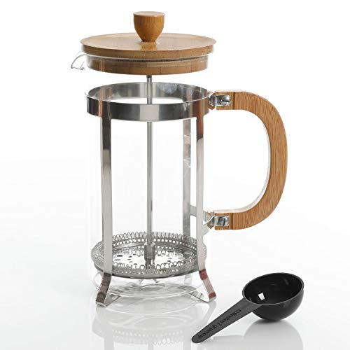Best Review Of Gibson Home Bamboo Cafe 33 Ounce Glass Coffee French Press with Scoop
