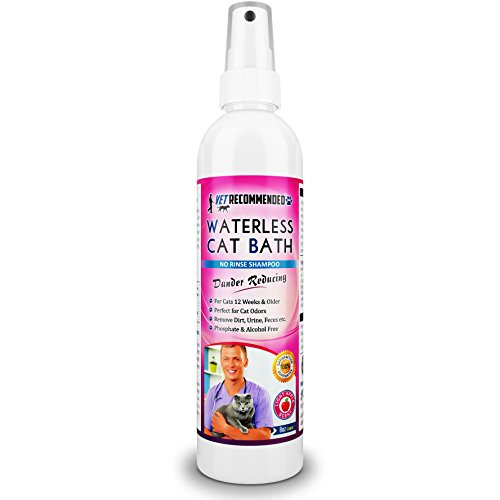 Vet Recommended Waterless Cat Shampoo & Conditioner - Apple Extract (8 Oz/240 ml). Simple Spray & Easy to Use. for Sensitive Skin, Detergent and Alcohol Free. Made in USA