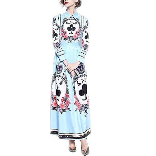 CXJ-jurk stijl nieuwe palast-stijl mooi in positie gebracht revers-lange mouw-taillejurk drukgevend aanbevolen