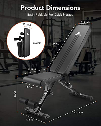 MaxKare Weight Bench Adjustable Workout Bench - Folding Incline Bench Press - Foldable Weight Lifting Bench for Home Gym - 882 lbs Capacity - 8+4+2 Positions