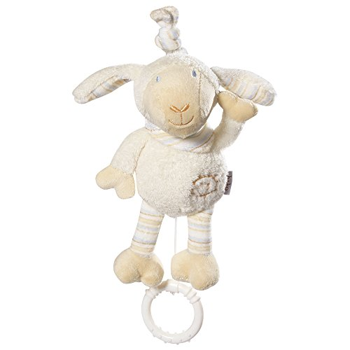 Fehn 154450 Mini-Spieluhr Schaf/Kuscheltier mit integriertem Spielwerk mit sanfter Melodie zum Aufhängen an Kinderwagen, Babyschale oder Bett, für Babys und Kleinkinder ab 0+ Monaten
