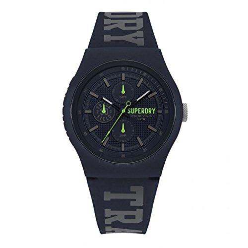 Superdry [P9129] - Reloj Multifuncional de Silicona 'Superdry' Azul Marino Verde - 45 mm.