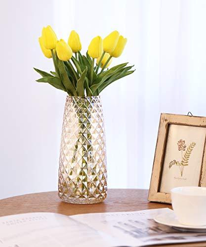 Lewondr Blumenvase Decorative Vase, 22 cm Minimalismus Stil Glasvase rutschfest Kristallglas Dekovase mit Ananas Muster für Pampasgras Blumen Hydroponikpflanze für Deko Hause Büro Hochzeit, Bernstein