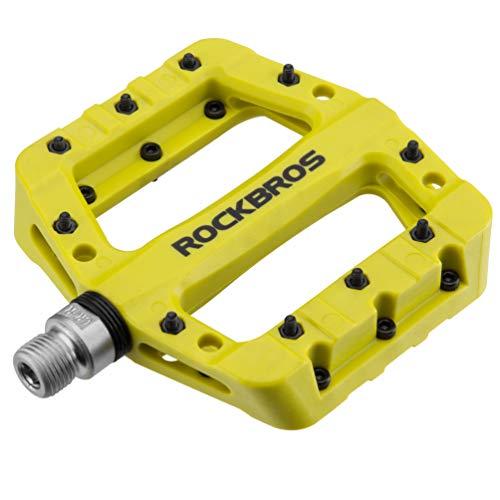 "ROCKBROS Lightweight Mountain Bike Pedals Nylon Fiber Bicycle Platform Pedals for BMX MTB 9/16"" (Green)"