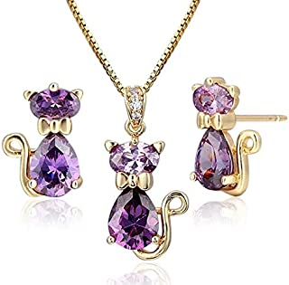 Birthday party gift girls kids child babies love Swarovski crystal gold plated pink necklace earrings set surprise winter stylish charm