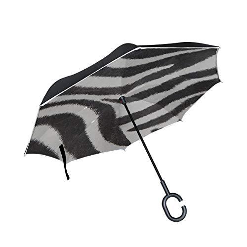 Double Layer Inverted Reverse Windproof Umbrella Zebra Schwarz-Weiß-Streifen Große Inverted Umbrellas für Frauen UV-Klappschirm Winddichter UV-Schutz für Regen mit C-förmigem Griff